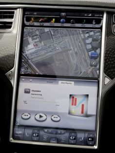 Tesla Car - This large touch screen hosts most of the infotainment controls.