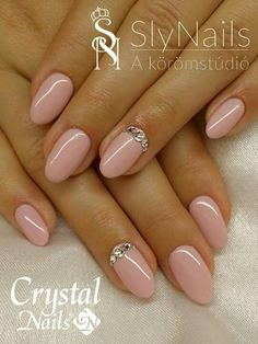 Manicure For other models, you can visit the category. Blush Nails, Neutral Nails, Pink Nails, Oval Nails, Diamond Nails, Nail Manicure, Nail Polish, Nail Art Designs, Hollywood Nails