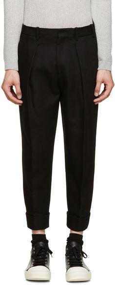 Neil Barrett - Black Cropped Pleated Trousers