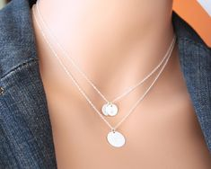 3 Initial disc on two necklaces - Sterling Silver, engraved necklace,Valentine,for her, birthday gifts, mother's mom daughter sister