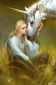 Elf Legolas and Unicorn Tolkien, Magical Creatures, Fantasy Creatures, Legolas Et Thranduil, Legolas Hot, Gandalf, Character Inspiration, Character Art, Fantasy Character Design