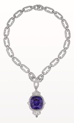 An elegant Art Deco platinum, diamond and amethyst sautoir, French, about 1920. The sautoir features a pendant set with an exceptional colour-change amethyst weighing 76.11 carats.