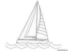 Pregrafismo Estate - Barca a vela - TuttoDisegni.com Stitch 2, Ocean Waves, Estate, Alphabet, Waves
