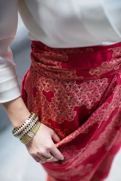 Sideswept Dhoti in Mobi Red, pair with a classic white shirt to bring your outfit up a notch.