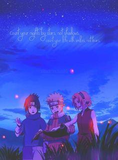 The old days of Team 7. Sasuke, Naruto, and Sakura.