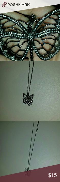 Long,blingy butterfly necklace! This is absolutely gorgeous and would make a fabulous gift for someone or even yourself lol! The chain and butterfly pendant itself are that gunmetal type color and Lane Bryant jewelry is nickel free for people with sensitive skin! Don't miss out,they no longer carry this in stock,I've checked but I have too much so it has to go! Thanks and bundle for savings :) Lane Bryant Jewelry Necklaces