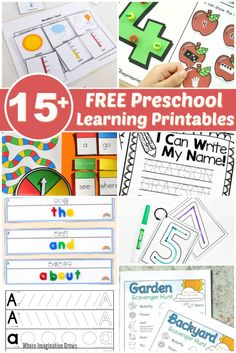 Over 15 free preschool printables for learning at home or preschool! Hands-on practice for handwriting, math, counting, science and more. Just print and go Free Preschool, Preschool Printables, Preschool Learning, Preschool Activities, Free Printables, Motor Activities, Learning Numbers, Learning To Write, Learning Letters
