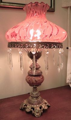 Antique pink glass and crystal lamp, what a beauty...
