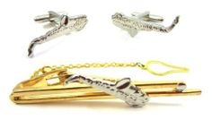 Gold Saxophone Cufflink and Tie Bar Set CuffCrazy. $19.99. Perfect gift for musicians. Gift Box Included. One pair of cufflinks and a tie bar included
