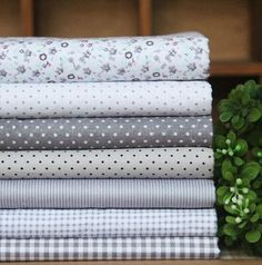 """Gray 7 pack Assorted Cotton Quilt Fabric Squares 17.7""""x17.7"""" – Quilters Deals"""