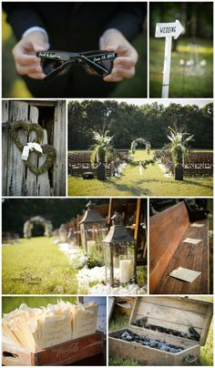 greenville sc wedding photographers, rustic wedding ideas, white rose bouquet, couple portraits, bride and groom wedding photos, ceremony decor ideas, church pews in a field, lanterns lining the aisle, coke box for programs, personalized sunglasses for guests