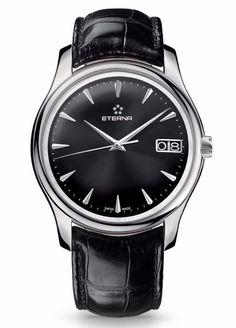 Eterna Vaughan 7630.41.50.1186 Swiss Automatic Watch Black Face Leather - NEW! #Eterna #DressFormal