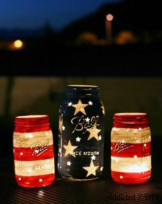 Mason Jar Lanterns for the 4th (could also be used as vases for flowers)