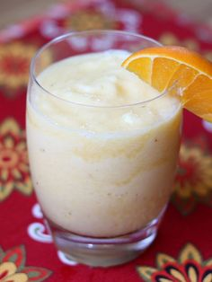 This fruit filled dairy-free Pineapple Orange Banana Smoothie is perfect for breakfast or an after dinner treat!   get the recipe at barefeetinthekitchen.com