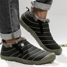 2914b2bf97bb Large Size Warm Waterproof Fur Slip On Snow Boots Winter Shoes