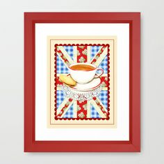 Union Jack and a Cup of Tea Framed Art Print by #PatriciaSheaDesigns on #Society6