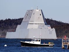 The future USS Michael Monsoor passes Fort Popham travels down the Kennebec River as it heads out to sea for trials, Monday, Dec. in Phippsburg, Maine. The ship is the second in the stealthy Zumwalt class of destroyers. (AP Photo/Robert F. Uss Zumwalt, The War Zone, Cruise Missile, Us Navy Ships, Military News, Out To Sea, Submarines, Aircraft Carrier, War Machine