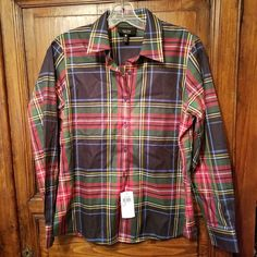 5317b8f2ab0 Women s Foxcroft Size 8P Petite Plaid Shirt Non Iron Cotton Shaped Fit New w  Tag