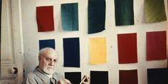 Matisse in front of gouache-painted papers, Hôtel Régina, Nice