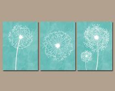 Fotos de dormitorio gris habitación Aqua Coral arte por TRMdesign