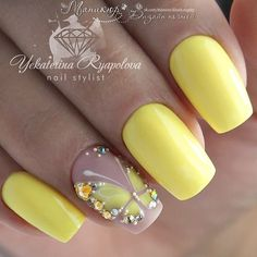 Spanish Nails Models and Photos Page 46 of 56 - Nail Designs & Manicure Bl. - Nail Design Ideas, Gallery of Best Nail Designs Fabulous Nails, Gorgeous Nails, Fancy Nails, Trendy Nails, Spring Nails, Summer Nails, Butterfly Nail Art, Butterfly Nail Designs, Yellow Nails