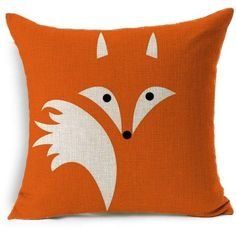 HT&PJ Decorative Cotton Linen Square Throw Pillow Case Cushion Cover... (18 CAD) ❤ liked on Polyvore featuring home, home decor, throw pillows, square throw pillows, orange toss pillows, orange home accessories, fox home decor and orange throw pillows