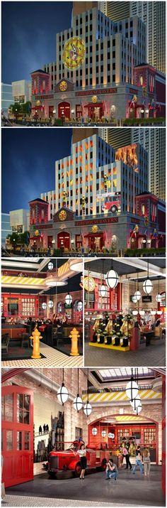 Firehouse Tavern at New York New York Las Vegas, Restaurant Design, Interior Design, Hotel Design, Design by Bar Napkin Productions #BarNapkinProductions