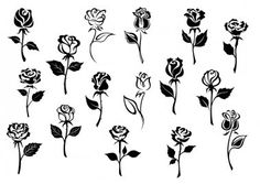 Black And White Roses, Clipart Black And White, Black And White Drawing, Finger Rose Tattoo, Rose Hand Tattoo, Small Hand Tattoos, Body Art Tattoos, Tattoo Small, Rose Drawing Simple