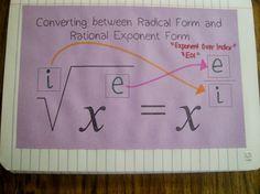 Converting between radical form and rational exponent form notes Algebra Activities, Algebra Worksheets, Maths Algebra, Math Resources, Math Teacher, Math Classroom, Teaching Math, Teaching Ideas, Classroom Ideas