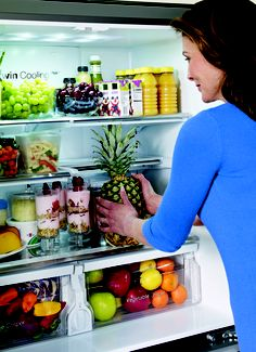 The Twin Cooling Plus feature in Samsung refrigerators helps produce stay fresh longer by controlling humidity levels in the fridge and freezer.