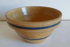 Early Yellowware Blue & Cream Banded Mini Stoneware Mixing Bowl