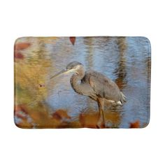 Great Blue Heron framed with fall foliage Bath Mat - animal gift ideas animals and pets diy customize