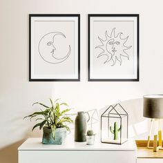 Bohemian Sun and Moon Wall Art Set of 2 Prints, One Line Drawing Space Art, Framed Boho Art Space Poster, Continuous Line Art Bedroom Prints, Bedroom Art, Wall Art Prints, Wall Drawing, Line Drawing, Art Wall Kids, Wall Art Sets, Childrens Art Set, Moon Decor