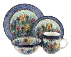 Blue Rose Polish Pottery Gladiolus 4 Piece Place Setting - Service for 1 for sale online Mug Dinner, Dinner Sets, Dinner Ware, Dinner Plates, Dessert Plates, Ceramic Bakeware, Stoneware, Vintage Kitchenware, Vintage Pyrex