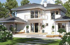 Projekt domu Carmen Magdalena A – strop monolityczny 154 - koszt budowy - EXTRADOM Mansions, House Styles, Outdoor Decor, Home Decor, Two Story Houses, Luxury Houses, Interior Design, Home Interior Design, Palaces