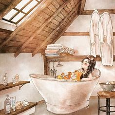 To make myself clean is always fun. It's especially funnier when taking a bath inside a bathtub filled with warm water! With my cheeks hot and red, I enjoy a sweet nap before the water gets cold. Then my stressed body would be relieved right away and be filled with soap fragrance. 깨끗하게 만든다는 건 언제나 즐거운 일이에요. 따끈한 물이 가득 담긴 욕조 안에서의 목욕이라면 더욱더요! 거기다 볼이 발그스름하게 열이 오른 상태에서 물이 식기 전 잠깐의 단잠을 즐기고 나면, 어느새 몸의 피로는 날아간 듯 없어지고 향긋한 비누 향기만이 가득해져요. (Full Ver. grafolio.com/works/309705) #일러스트 #일러스트레이션 #목욕 #욕실...