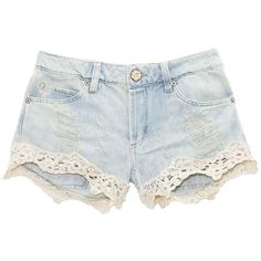 Short jeans barra renda ❤ liked on Polyvore featuring shorts, bottoms, pants, short and short shorts