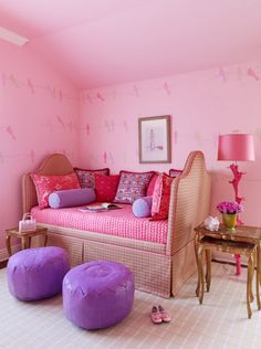 sweet pink girl's bedroom with upholstered daybed :: Jay Jeffers Design Group #pink #daybed #bedroom