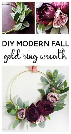 DIY Modern Fall Gold Ring Wreath - Making Joy and Pretty Things - - See how I used a gold macrame ring to make a modern fall wreath. It's the perfect DIY modern fall wreath with moody fall colors. Gold Wreath, Diy Fall Wreath, Tulle Wreath, Winter Wreaths, Spring Wreaths, Summer Wreath, Holiday Wreaths, Wreath Ideas, Gold Diy