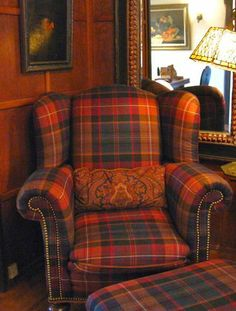 Tartan chair, paisley pillow combination