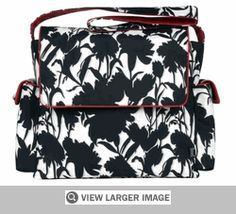 """Bag Featured: Black White Floral Messenger Diaper Bag by OiOi. A hit in Australia, stylish OiOi bags are rated as the most popular diaper bag in Australia and are now sported by the celebrity moms in Australia, US and the UK. Fans of OiOi include Lisa McCune, Rachel Griffiths, Danielle Spencer and Cate Blanchette, who calls OiOi baby bags """"a godsend"""". $150.00. #BlissDiaperBags, #ShoulderDiaperBags #DesignerDiaperBags, #BabyBags, #DiaperBags, #BabyTotes, #BestDiaperBags, #Diapers, #OiOi"""