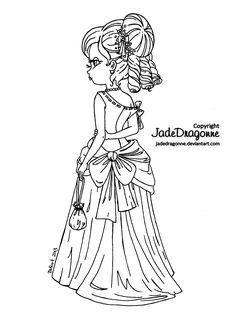 Victorian Girl - lineart by JadeDragonne.deviantart.com on @deviantART