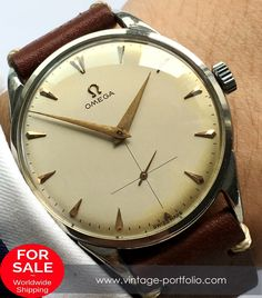 - Handwinding Movement - Stainless Steel Case - Service crown - Years of Construction: 1947 1948 1949 1950 - Omega Buckle Fine Watches, Watches For Men, Vintage Omega, Gentleman Style, Vintage Watches, Stainless Steel Case, Omega Watch, Pocket Watch, Cream