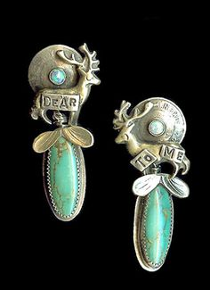 """Dear To Me     Sterling silver earrings with dangling turquoise ovals and opal accents. Approximately 1.75"""" x 5/8""""    $120.00"""