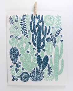 Cactus Print Printed on recycled, heavyweight, speckletone paper. 8 x 10 Ships in clear, archival bag with a sturdy stay flat mailer. Great for the home or give as a gift art garden indoor plants Art And Illustration, Kaktus Illustration, Cactus Drawing, Cactus Art, Cactus Plants, Cactus Decor, Succulent Planters, Succulent Arrangements, Cactus Flower