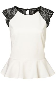 Topshop Lace Back Peplum Top - Ivory peplum with lace shoulder and lace back detailing with 3 buttons up the back. Mode Top, Mode Plus, Peplum Shirts, Peplum Tops, Lace Shirts, Look Fashion, Womens Fashion, Dresscode, Passion For Fashion