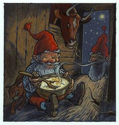 In other countries Santa Claus is comming through their chimney on Christmas night. In Norway we have old pixies that live at the farms on the barn at Christmas time. We feed them by setting a bowl of rice porridge in the barn. Another tradition is also to set a sheaf of corn outside the barn, to feed the little birds.