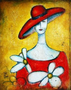 Lady with a red hat by Nebojsa Jovanovic NESAART