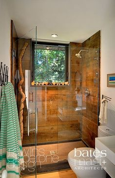 Rawlins Calderone Design Mid-century Beach House renovation and decor, Amagansett, NY Home, Bathroom Inspiration, Wood Tile Shower, Bathrooms Remodel, Remodel, Cabin Bathrooms, House, Wood Tile, Home Decor Tips