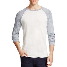 Vince Pique Panel Raglan Tee ($225) ❤ liked on Polyvore featuring men's fashion, men's clothing, men's shirts and men's t-shirts
